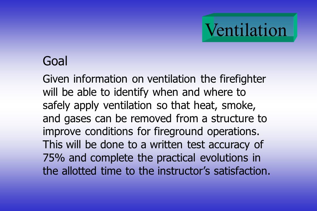 Ventilation Given information on ventilation the firefighter will be able to identify when and where to safely apply ventilation so that heat, smoke,