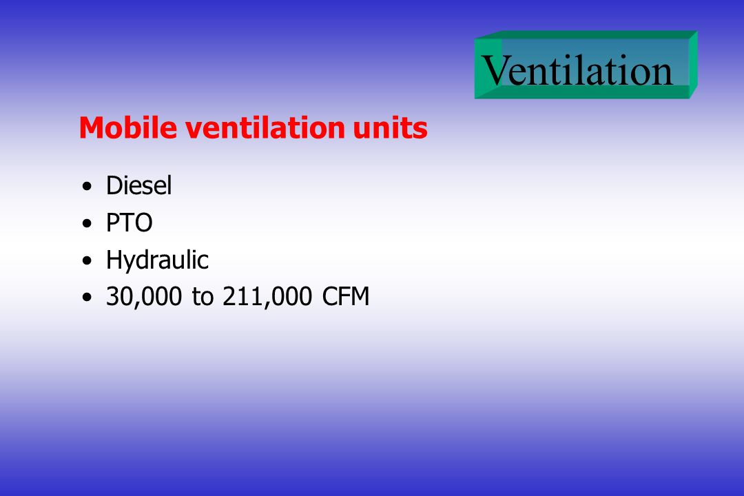Ventilation Mobile ventilation units Diesel PTO Hydraulic 30,000 to 211,000 CFM