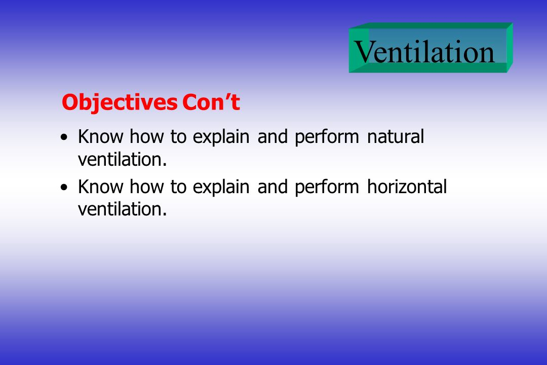 Ventilation Objectives Cont Know how to explain and perform natural ventilation. Know how to explain and perform horizontal ventilation.