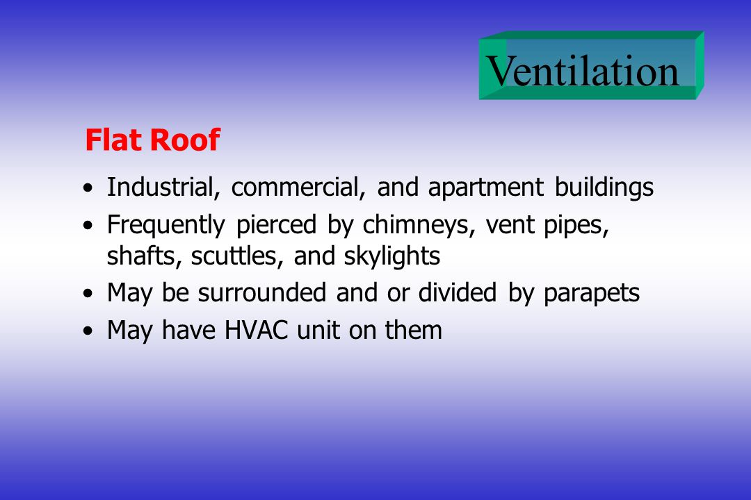 Ventilation Flat Roof Industrial, commercial, and apartment buildings Frequently pierced by chimneys, vent pipes, shafts, scuttles, and skylights May be surrounded and or divided by parapets May have HVAC unit on them