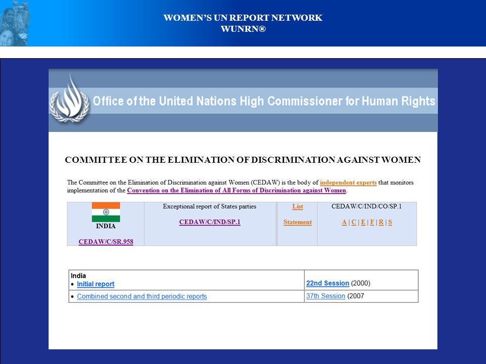 WOMENS UN REPORT NETWORK WUNRN® COMMITTEE ON THE ELIMINATION OF DISCRIMINATION AGAINST WOMEN