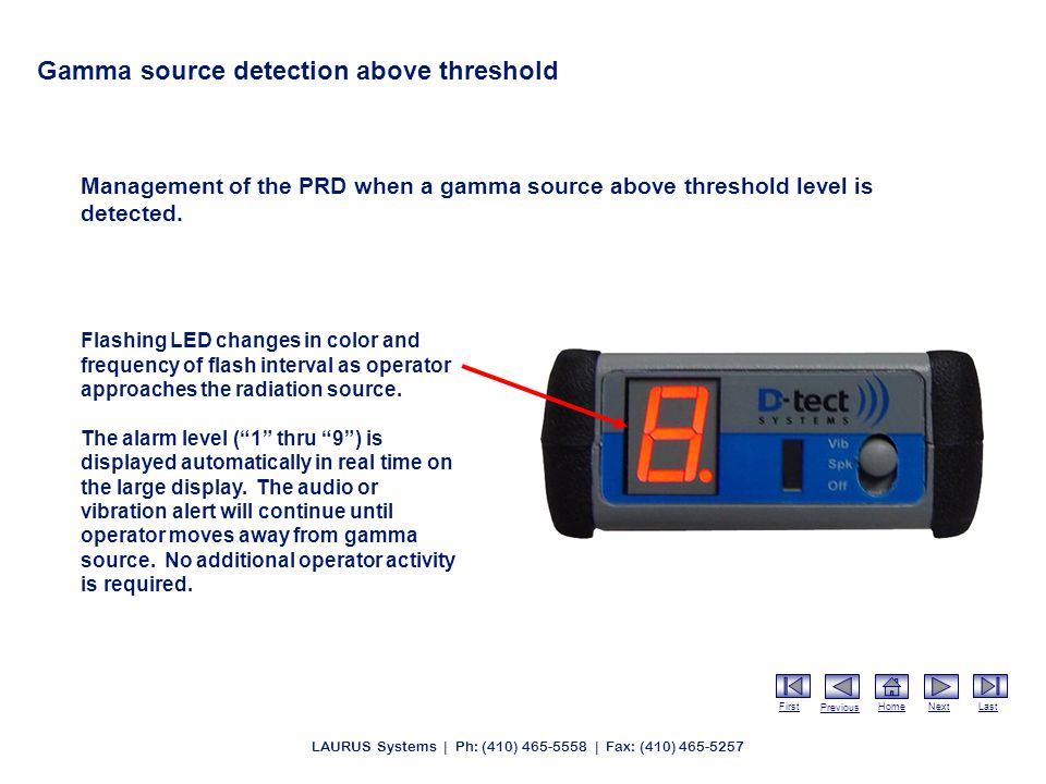 First Previous HomeNextLast LAURUS Systems | Ph: (410) 465-5558 | Fax: (410) 465-5257 Gamma source detection above threshold Management of the PRD when a gamma source above threshold level is detected.