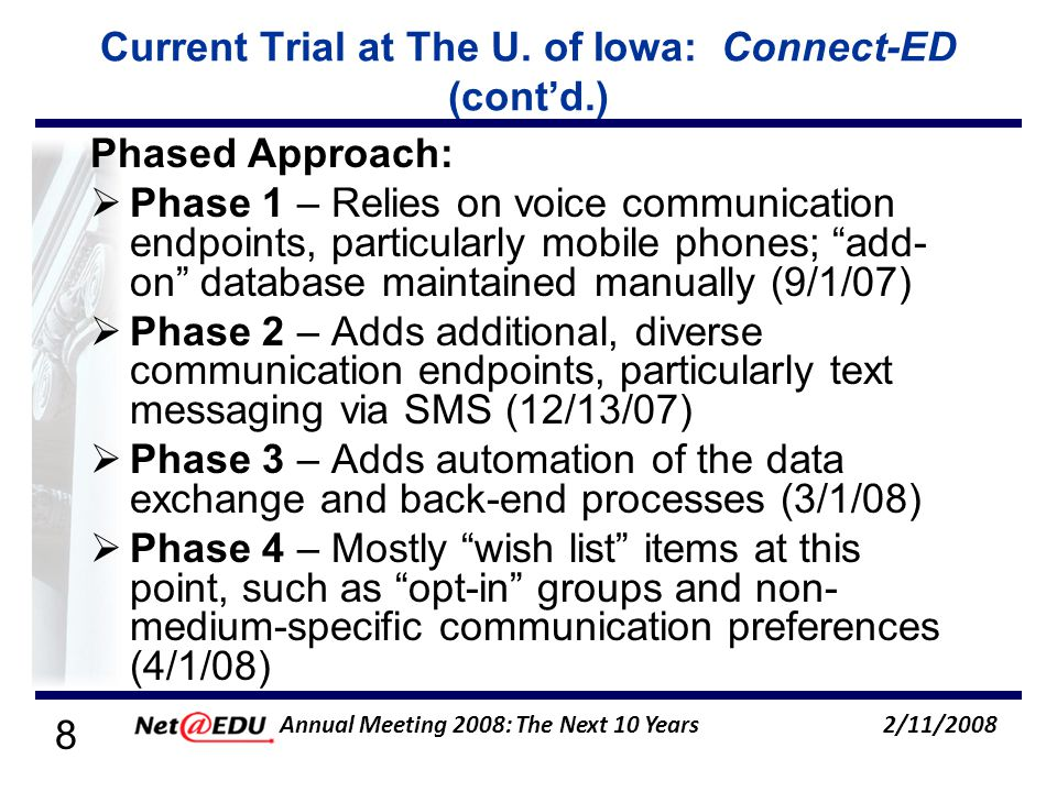 19 2/11/2008 Annual Meeting 2008: The Next 10 Years Policies/Procedures (contd.) Templates (contd.): Cancellation of Classes Text-to-speech enunciated: Hawk Alert, [DELIVERY_DATE], {time}: The University of Iowa has cancelled all {qualifier, e.g., afternoon and evening} classes for {date}.