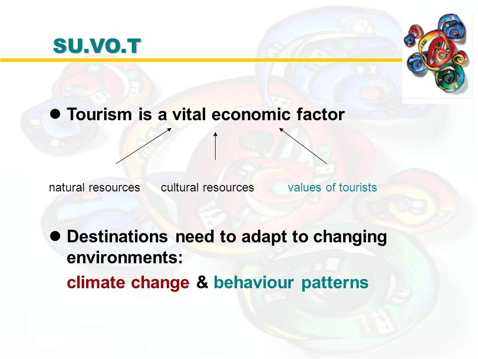 lTourism is a vital economic factor natural resources cultural resources values of tourists lDestinations need to adapt to changing environments: clim