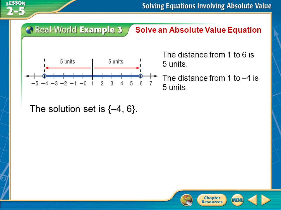 Example 3 Solve an Absolute Value Equation The solution set is {–4, 6}.