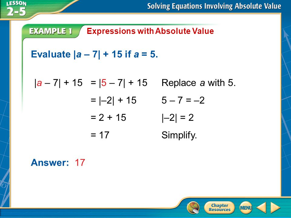 Example 1 Expressions with Absolute Value Evaluate |a – 7| + 15 if a = 5.
