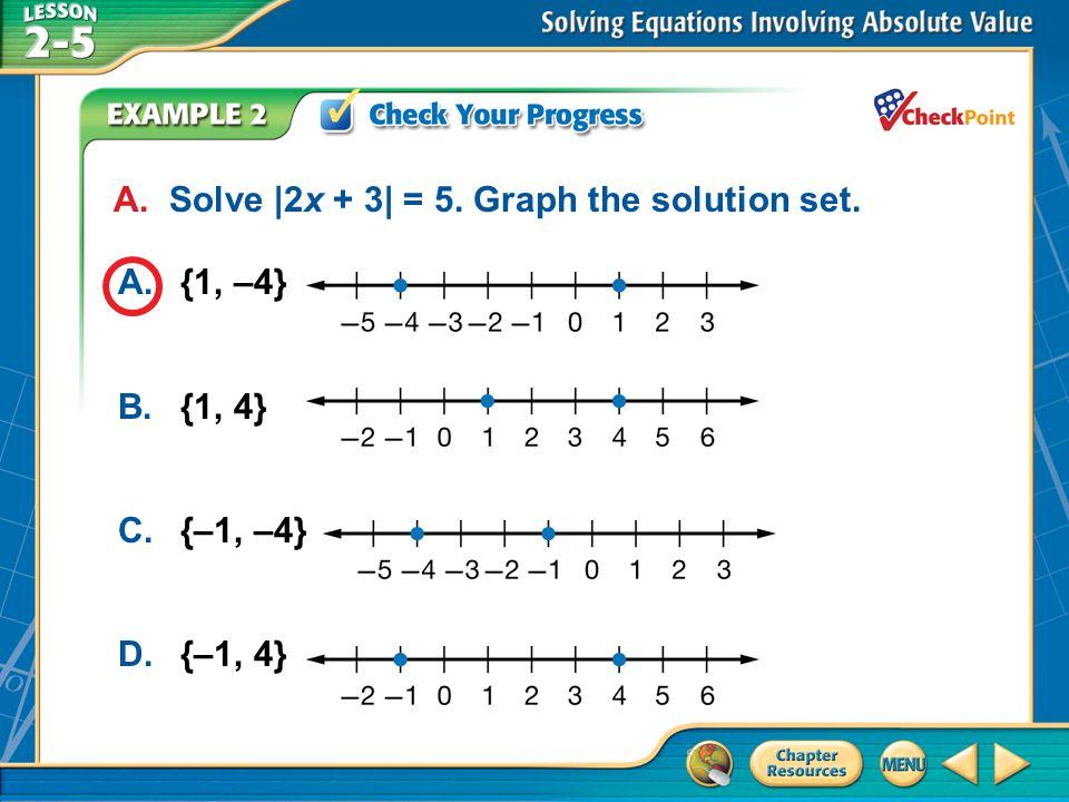 A.A B.B C.C D.D Example 2 A. Solve |2x + 3| = 5. Graph the solution set. A.{1, –4} B.{1, 4} C.{–1, –4} D.{–1, 4}