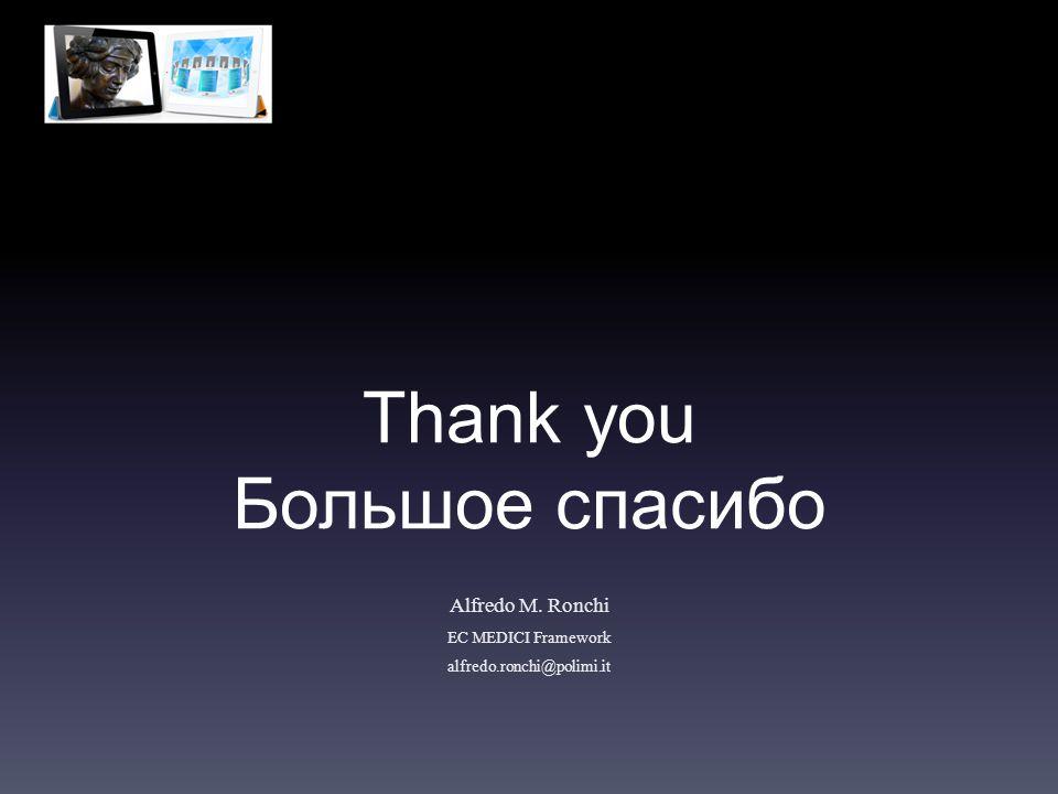 Thank you Большое спасибо Alfredo M. Ronchi EC MEDICI Framework alfredo.ronchi@polimi.it