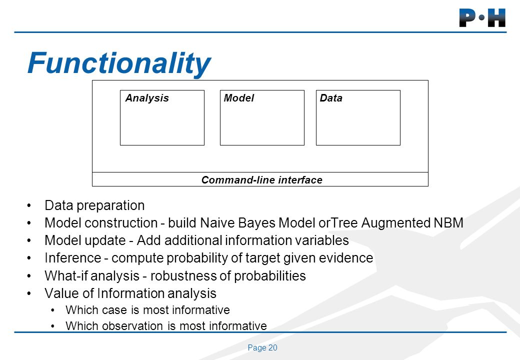 Page 20 Functionality Data preparation Model construction - build Naive Bayes Model orTree Augmented NBM Model update - Add additional information variables Inference - compute probability of target given evidence What-if analysis - robustness of probabilities Value of Information analysis Which case is most informative Which observation is most informative Command-line interface AnalysisModelData