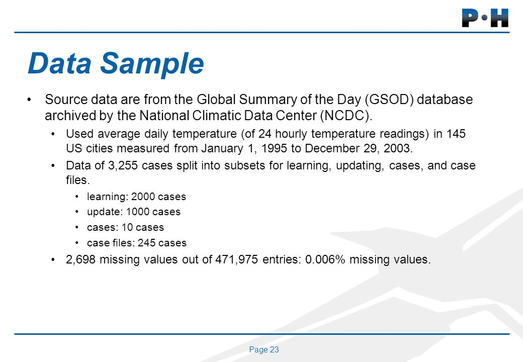 Page 23 Data Sample Source data are from the Global Summary of the Day (GSOD) database archived by the National Climatic Data Center (NCDC).