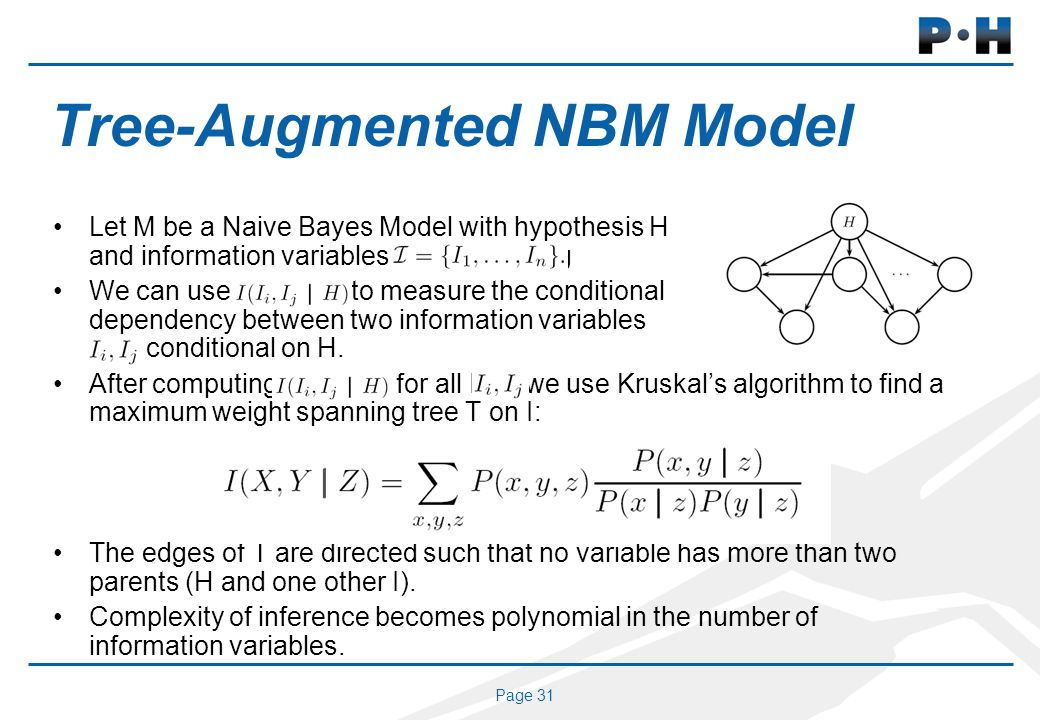 Page 31 Tree-Augmented NBM Model Let M be a Naive Bayes Model with hypothesis H and information variables I = fI1; : : : ; Ing We can use I(Ii; Ij j H
