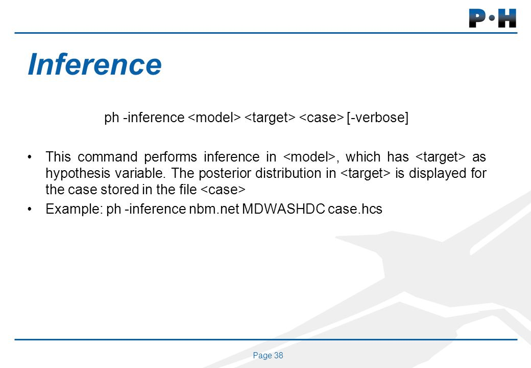 Page 38 Inference ph -inference [-verbose] This command performs inference in, which has as hypothesis variable.