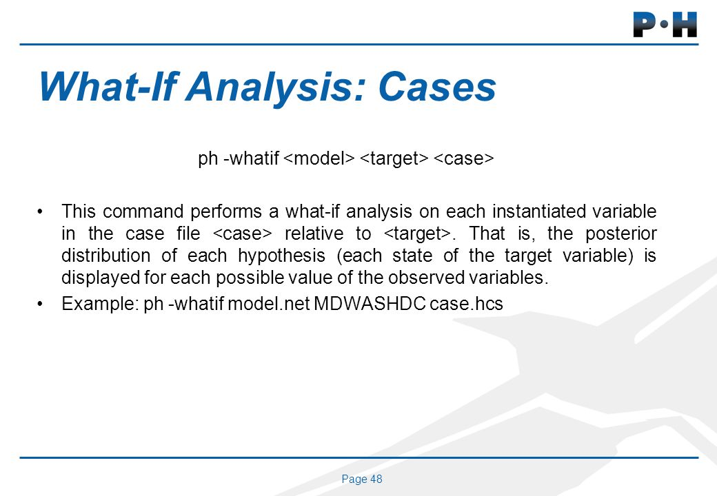Page 48 What-If Analysis: Cases ph -whatif This command performs a what-if analysis on each instantiated variable in the case file relative to.