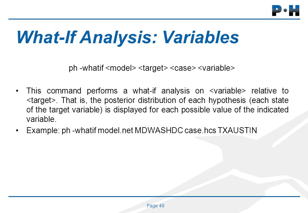Page 49 What-If Analysis: Variables ph -whatif This command performs a what-if analysis on relative to.