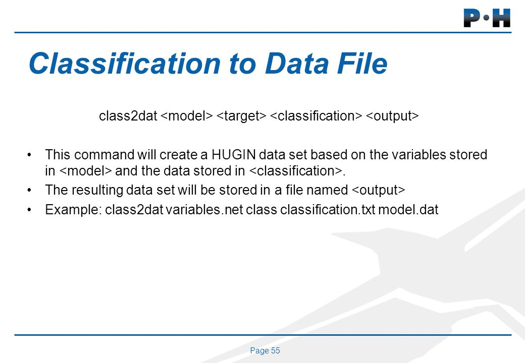Page 55 Classification to Data File class2dat This command will create a HUGIN data set based on the variables stored in and the data stored in.