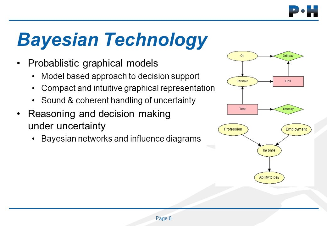 Page 8 Bayesian Technology Probablistic graphical models Model based approach to decision support Compact and intuitive graphical representation Sound