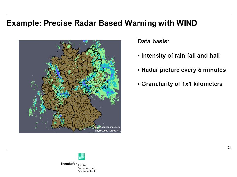 24 Example: Precise Radar Based Warning with WIND Data basis: Intensity of rain fall and hail Radar picture every 5 minutes Granularity of 1x1 kilometers