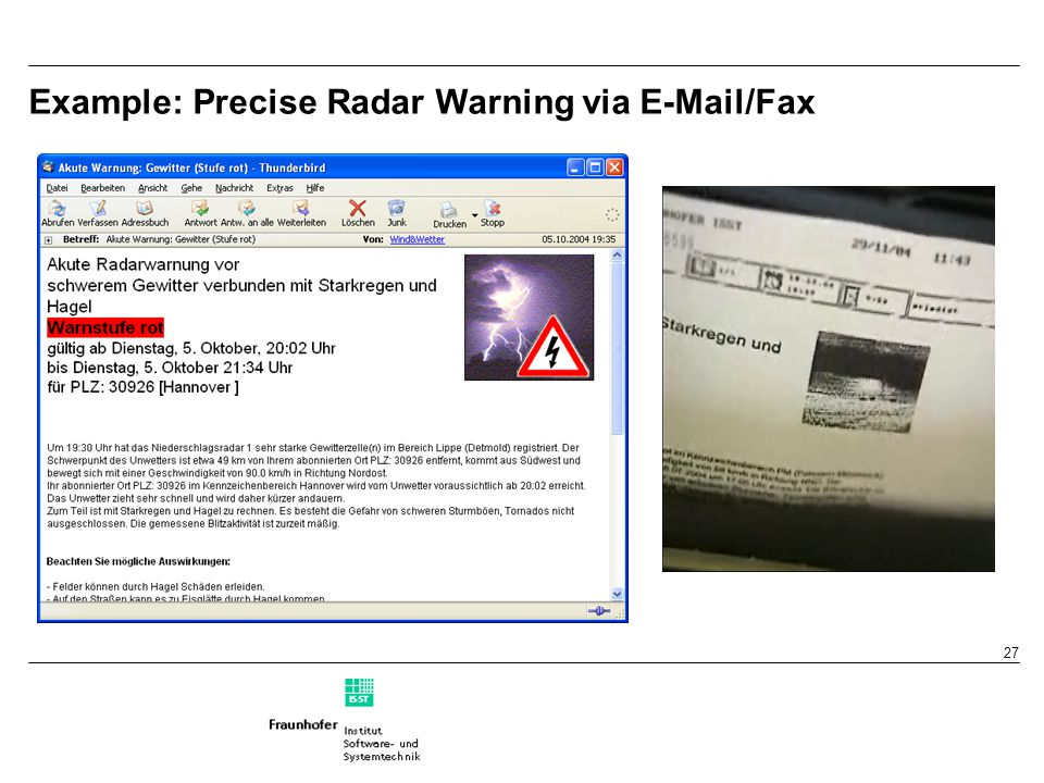 27 Example: Precise Radar Warning via E-Mail/Fax