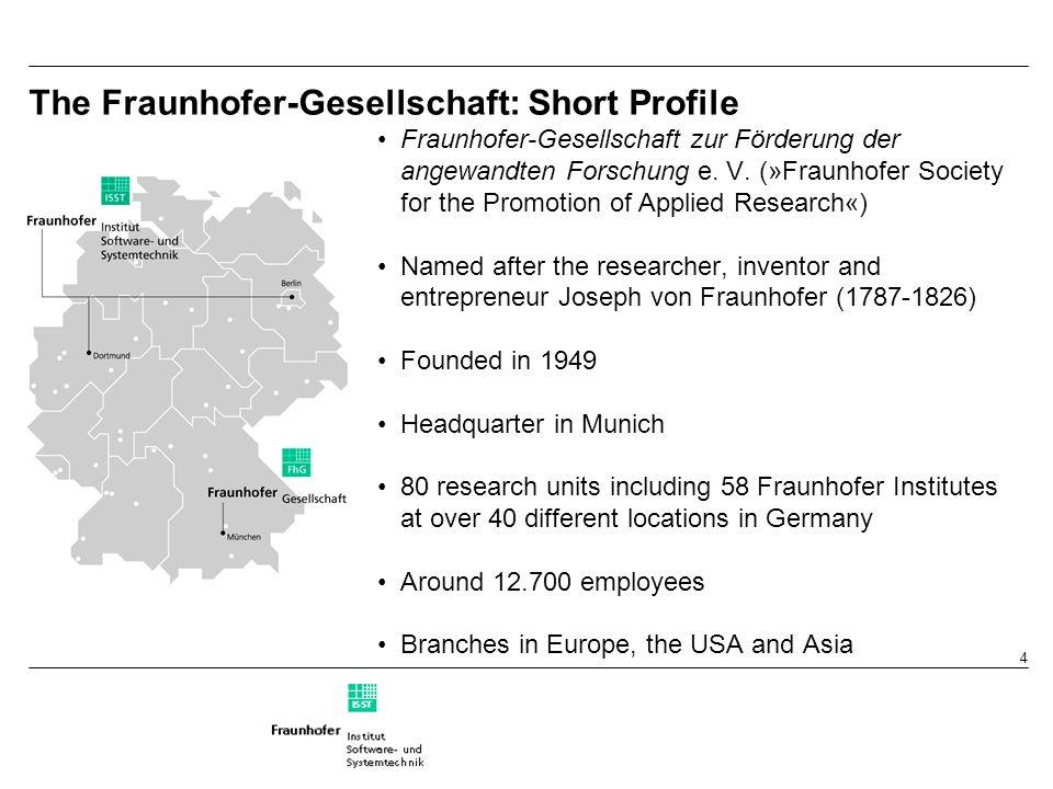 4 The Fraunhofer-Gesellschaft: Short Profile Fraunhofer-Gesellschaft zur Förderung der angewandten Forschung e.