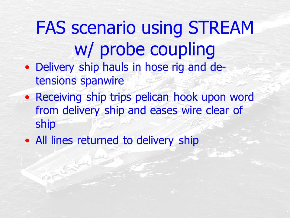 FAS scenario using STREAM w/ probe coupling Delivery ship hauls in hose rig and de- tensions spanwire Receiving ship trips pelican hook upon word from
