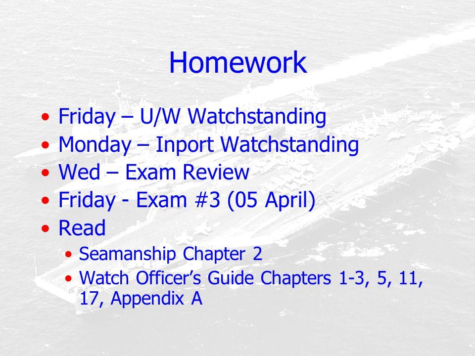Homework Friday – U/W Watchstanding Monday – Inport Watchstanding Wed – Exam Review Friday - Exam #3 (05 April) Read Seamanship Chapter 2 Watch Office