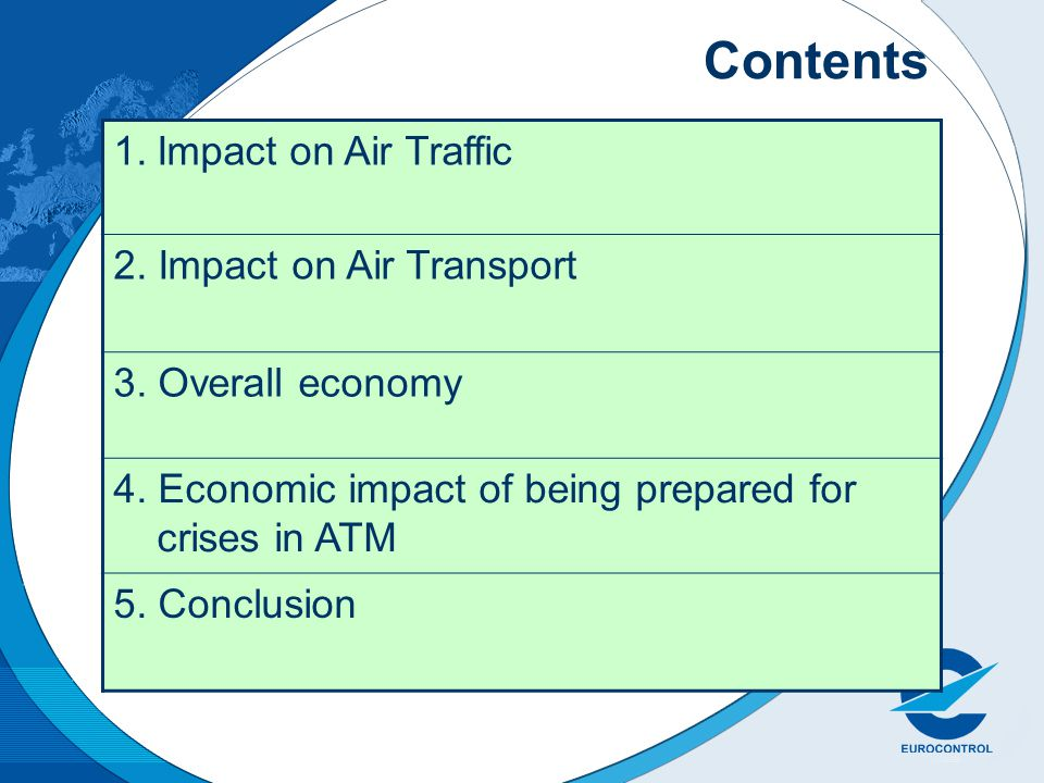 Contents 1.Impact on Air Traffic 2. Impact on Air Transport 3. Overall economy 4. Economic impact of being prepared for crises in ATM 5. Conclusion