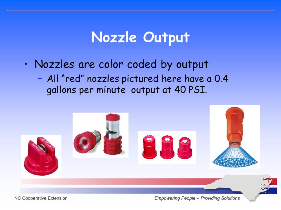 Nozzle Output Nozzles are color coded by output –All red nozzles pictured here have a 0.4 gallons per minute output at 40 PSI.