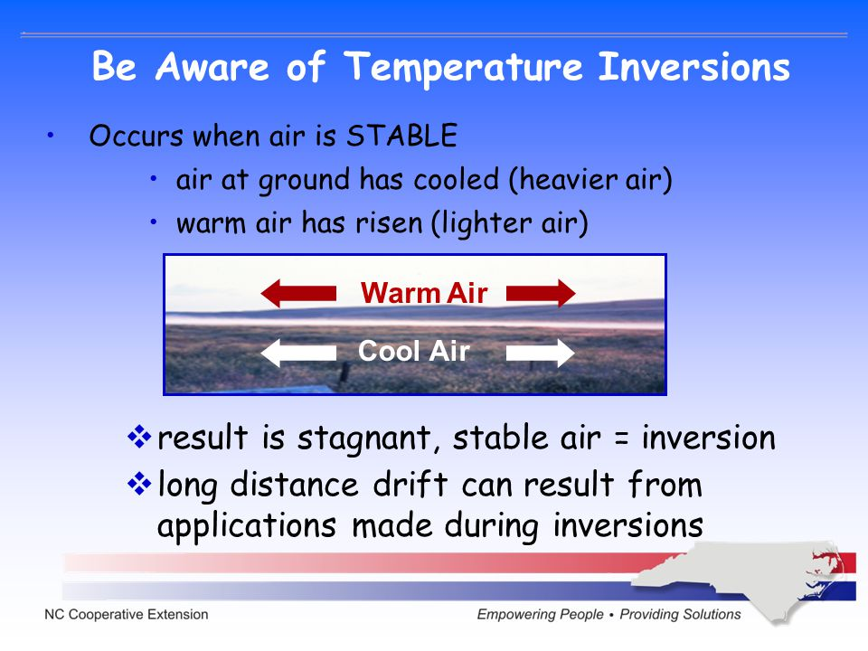 Be Aware of Temperature Inversions Occurs when air is STABLE air at ground has cooled (heavier air) warm air has risen (lighter air) Cool Air Warm Air