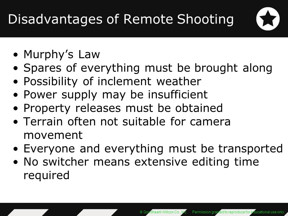 © Goodheart-Willcox Co., Inc. Permission granted to reproduce for educational use only. Disadvantages of Remote Shooting Murphys Law Spares of everyth