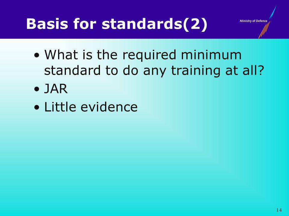 Basis for standards(2) What is the required minimum standard to do any training at all.