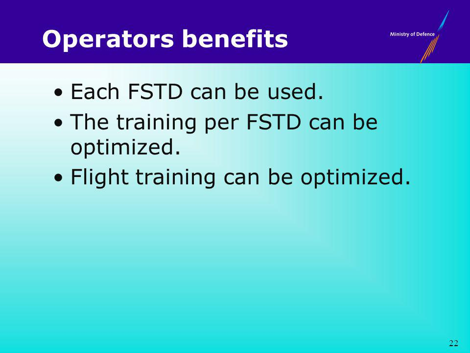 Operators benefits Each FSTD can be used. The training per FSTD can be optimized.
