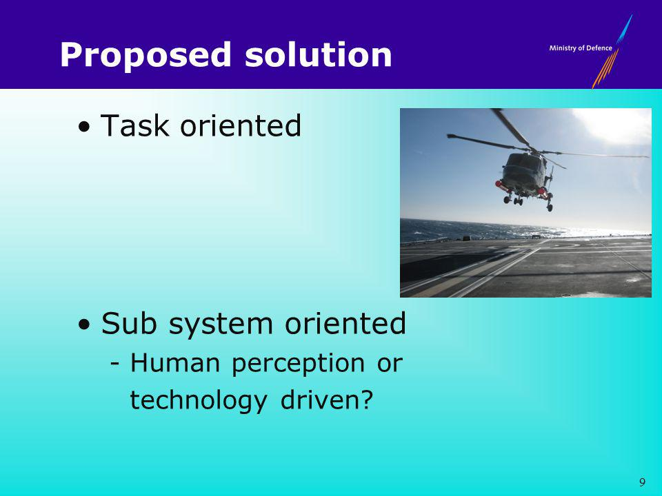 Proposed solution Task oriented Sub system oriented - Human perception or technology driven 9