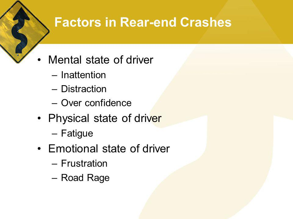 Factors in Rear-end Crashes Mental state of driver –Inattention –Distraction –Over confidence Physical state of driver –Fatigue Emotional state of dri