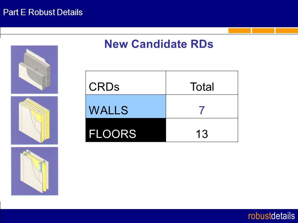 robustdetails Part E Robust Details New Candidate RDs CRDsTotal WALLS7 FLOORS13