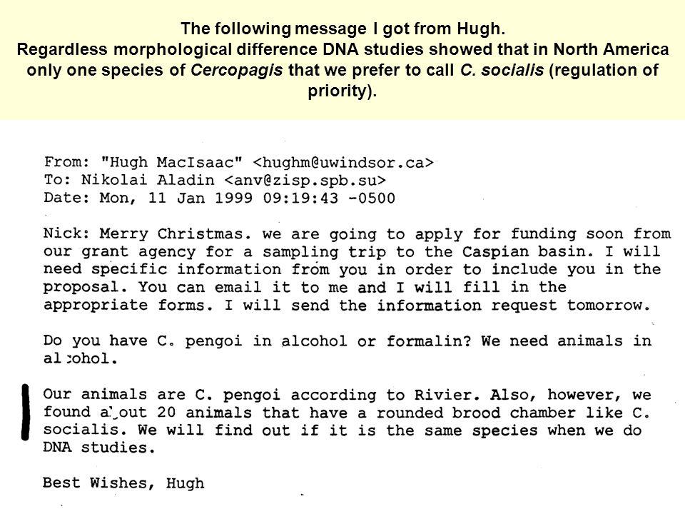 The following message I got from Hugh.