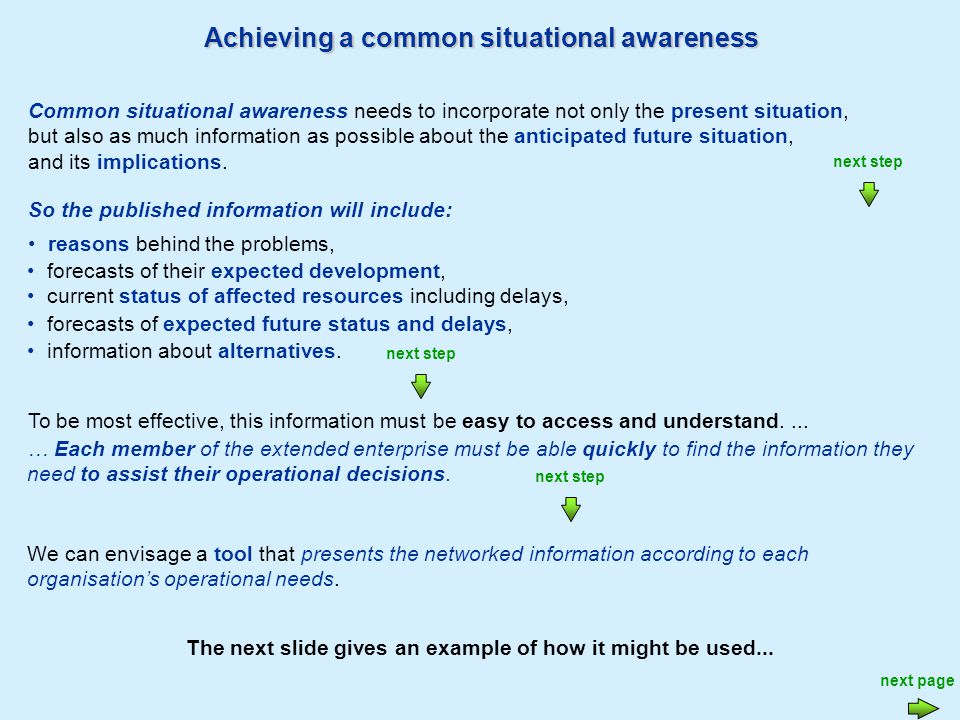 Achieving a common situational awareness next page The idea is that each member publishes on a network, their latest information about the actual and forecast situation, updating it as soon as they are aware of a change.