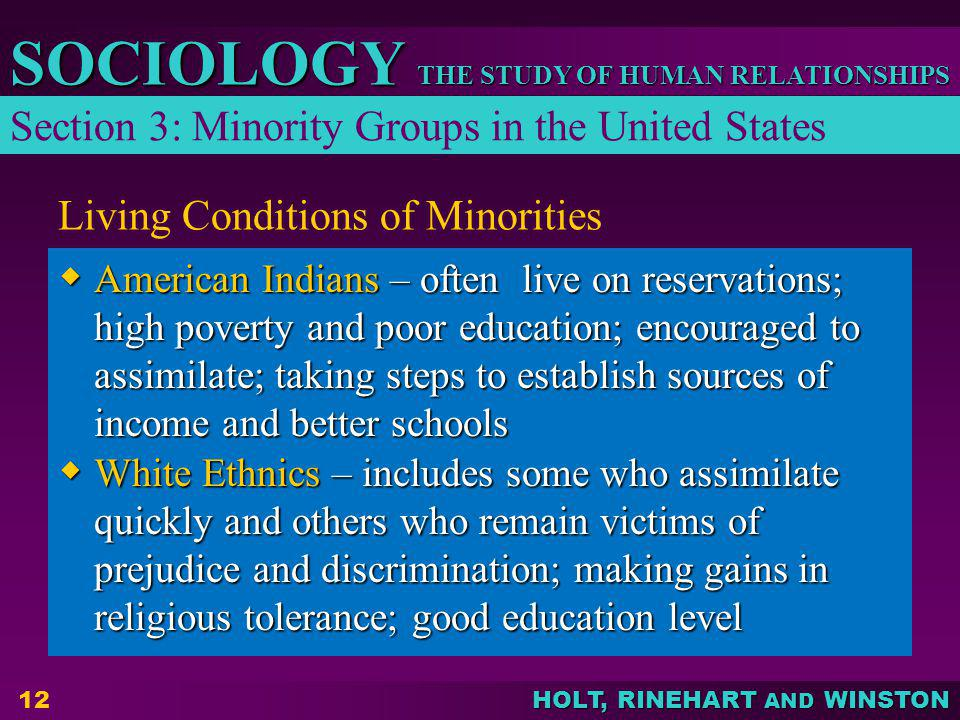 THE STUDY OF HUMAN RELATIONSHIPS SOCIOLOGY HOLT, RINEHART AND WINSTON 12 Living Conditions of Minorities American Indians – often live on reservations
