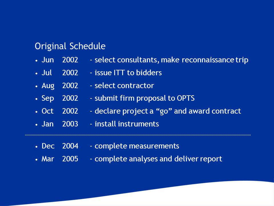 Original Schedule Jun2002- select consultants, make reconnaissance trip Jul 2002- issue ITT to bidders Aug 2002- select contractor Sep 2002- submit firm proposal to OPTS Oct2002- declare project a go and award contract Jan2003- install instruments Dec2004- complete measurements Mar2005- complete analyses and deliver report
