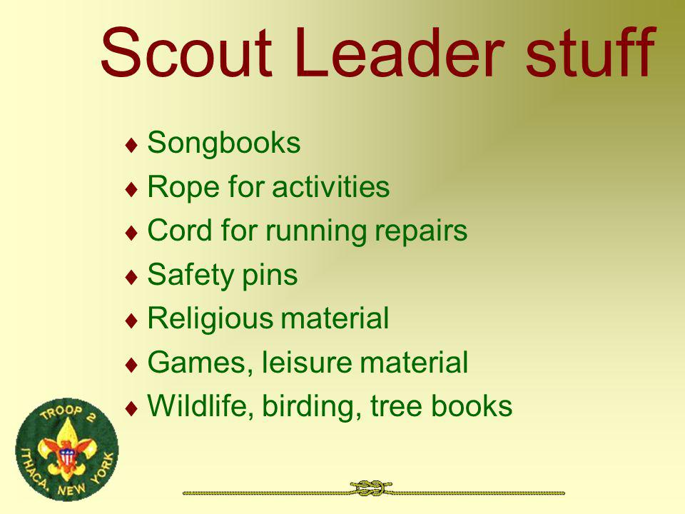 Scout Leader stuff Songbooks Rope for activities Cord for running repairs Safety pins Religious material Games, leisure material Wildlife, birding, tr