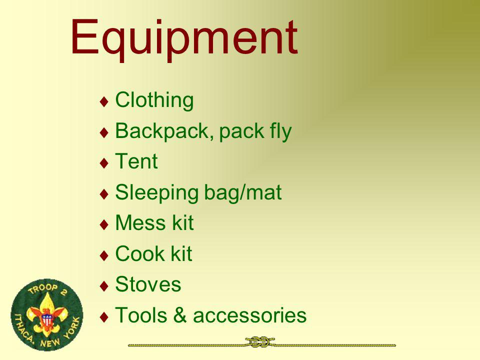 Equipment Clothing Backpack, pack fly Tent Sleeping bag/mat Mess kit Cook kit Stoves Tools & accessories