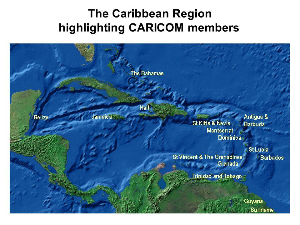 The Caribbean Region highlighting CARICOM members