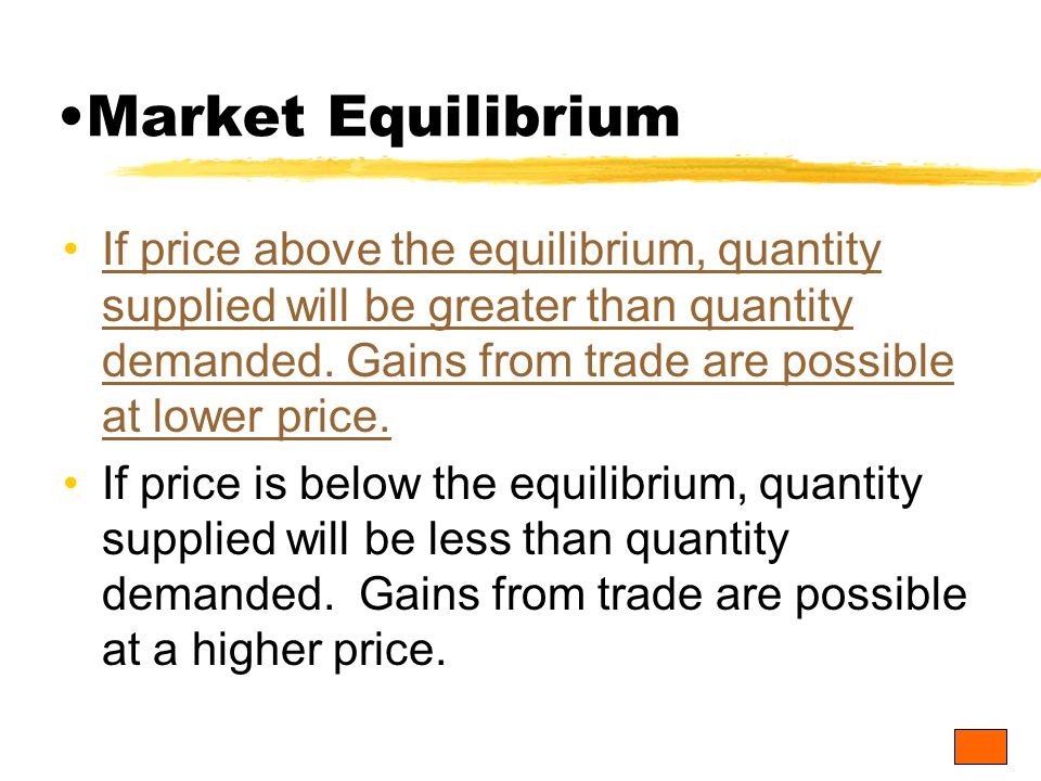 If price above the equilibrium, quantity supplied will be greater than quantity demanded.