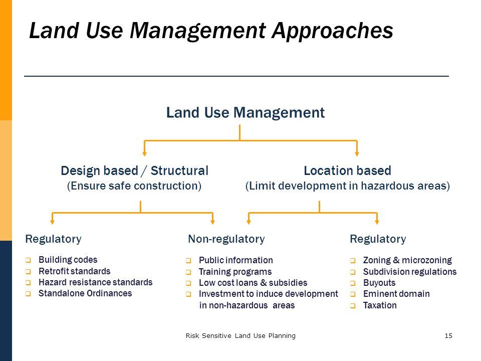 Risk Sensitive Land Use Planning15 Land Use Management Design based / Structural (Ensure safe construction) Location based (Limit development in hazar