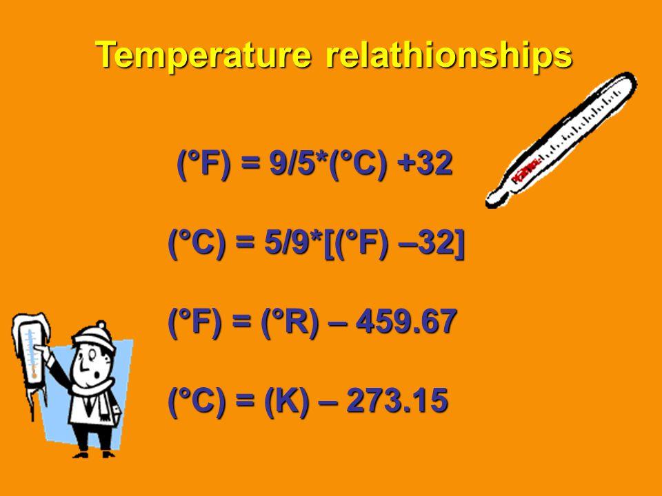 Temperature relathionships (°F) = 9/5*(°C) +32 (°C) = 5/9*[(°F) –32] (°F) = (°R) – 459.67 (°C) = (K) – 273.15