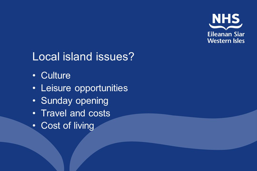 Local island issues? Culture Leisure opportunities Sunday opening Travel and costs Cost of living