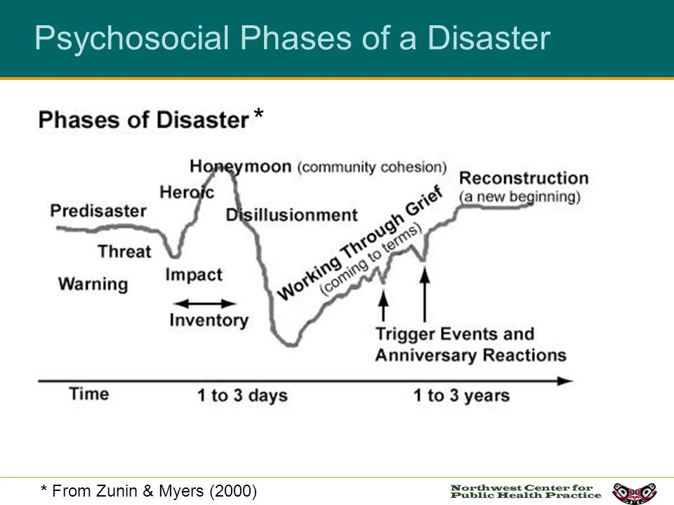 Psychosocial Phases of a Disaster * From Zunin & Myers (2000) *