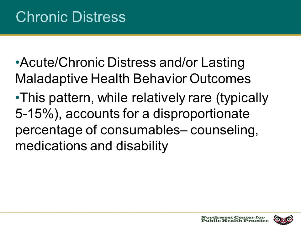 Chronic Distress Acute/Chronic Distress and/or Lasting Maladaptive Health Behavior Outcomes This pattern, while relatively rare (typically 5-15%), acc