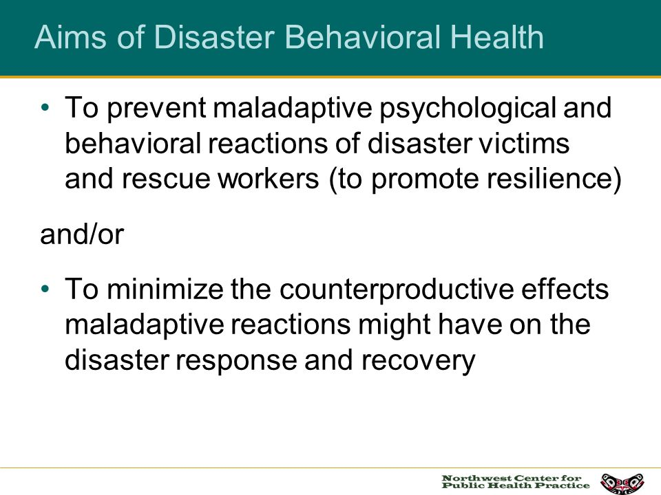 Objectives: To identify the Psychosocial Phases of a Disaster with implications for Community and Migrant Health Centers To analyze the psychological, social and behavioral patterns observed in the aftermath of disasters including resilience To identify strategies to promote and preserve resilience in Community and Migrant Health Center patients & staff