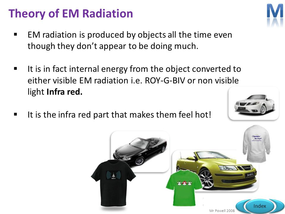 Mr Powell 2008 Index Theory of EM Radiation EM radiation is produced by objects all the time even though they dont appear to be doing much. It is in f