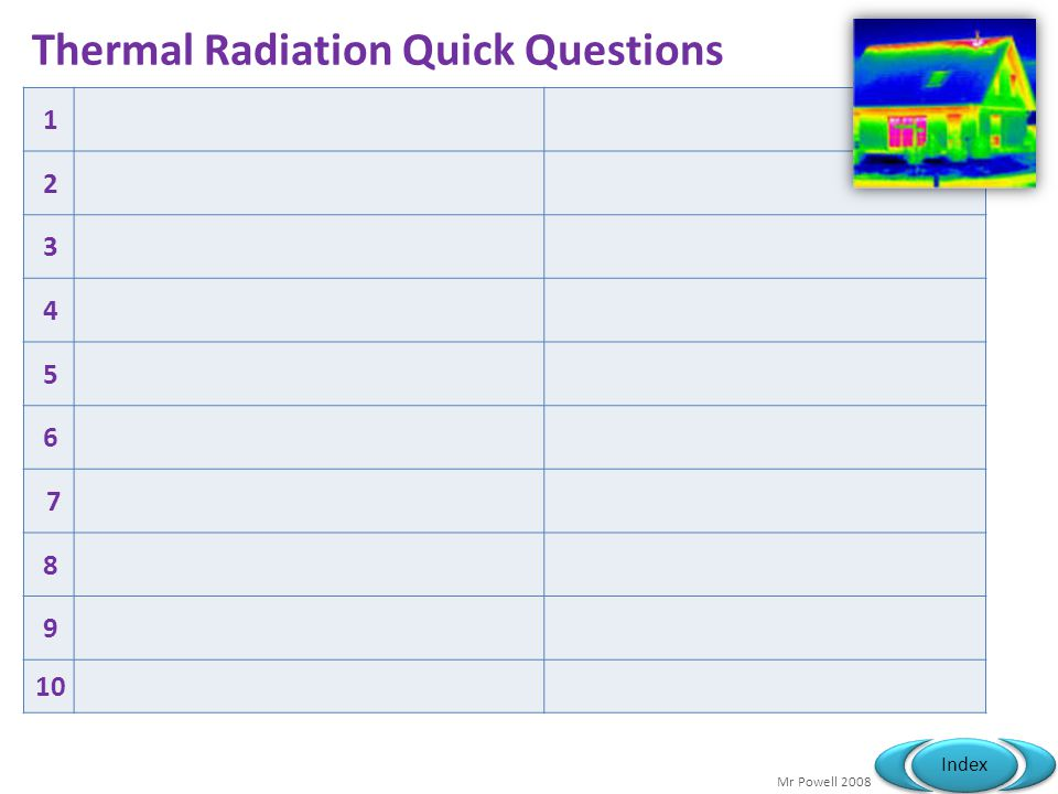 Mr Powell 2008 Index Thermal Radiation Quick Questions 1 2 3 4 5 6 7 8 9 10